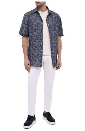 Мужская хлопковая рубашка KITON темно-синего цвета, арт. UCIH0767305 | Фото 2