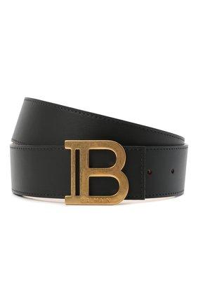 Мужской кожаный ремень BALMAIN черного цвета, арт. VN1A002/LVPT | Фото 1