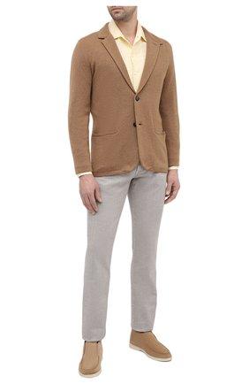 Мужская льняная рубашка LORO PIANA желтого цвета, арт. FAL6145 | Фото 2