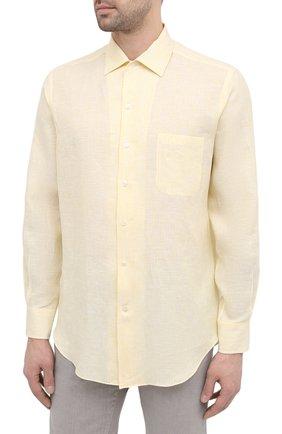 Мужская льняная рубашка LORO PIANA желтого цвета, арт. FAL6145 | Фото 3