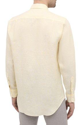 Мужская льняная рубашка LORO PIANA желтого цвета, арт. FAL6145 | Фото 4