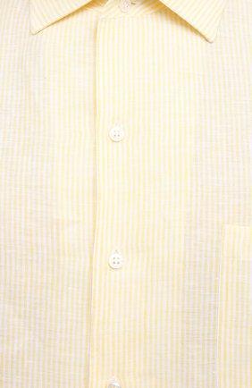 Мужская льняная рубашка LORO PIANA желтого цвета, арт. FAL6145 | Фото 5