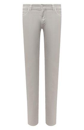 Мужские брюки изо льна и хлопка LORO PIANA серого цвета, арт. FAI1646 | Фото 1