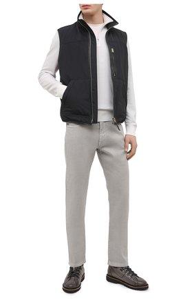 Мужские брюки изо льна и хлопка LORO PIANA серого цвета, арт. FAI1646 | Фото 2 (Длина (брюки, джинсы): Стандартные; Материал внешний: Лен, Хлопок; Случай: Повседневный; Стили: Кэжуэл)