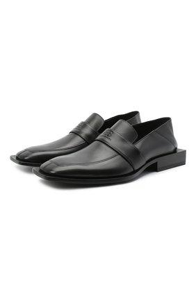 Мужские кожаные лоферы BALENCIAGA черного цвета, арт. 640349/WA72L | Фото 1 (Материал внутренний: Натуральная кожа; Стили: Кэжуэл; Мужское Кросс-КТ: Лоферы-обувь)