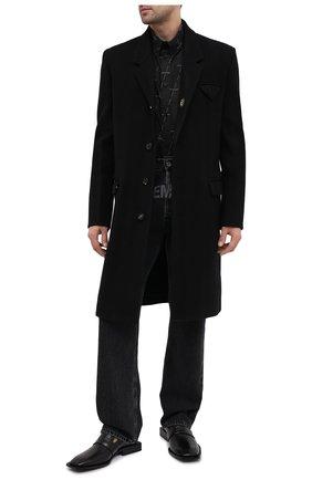 Мужские кожаные лоферы BALENCIAGA черного цвета, арт. 640349/WA72L | Фото 2 (Материал внутренний: Натуральная кожа; Стили: Кэжуэл; Мужское Кросс-КТ: Лоферы-обувь)