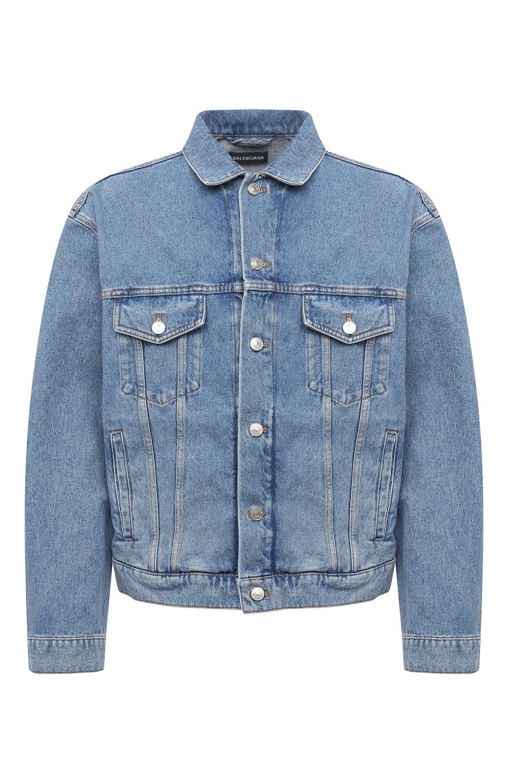Мужская джинсовая куртка BALENCIAGA голубого цвета, арт. 646922/TDW15 | Фото 1