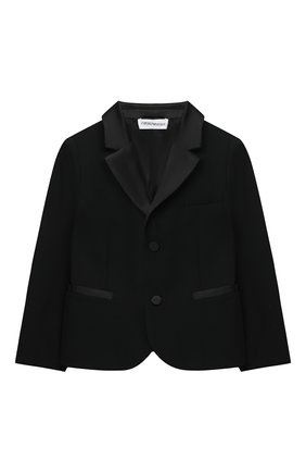 Детский шерстяной пиджак EMPORIO ARMANI черного цвета, арт. 3KHGJA/4N3FZ | Фото 1 (Рукава: Длинные; Материал подклада: Синтетический материал; Материал внешний: Шерсть; Ростовка одежда: 12 мес | 80 см)