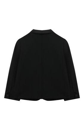 Детский шерстяной пиджак EMPORIO ARMANI черного цвета, арт. 3KHGJA/4N3FZ | Фото 2 (Рукава: Длинные; Материал подклада: Синтетический материал; Материал внешний: Шерсть; Ростовка одежда: 12 мес | 80 см)