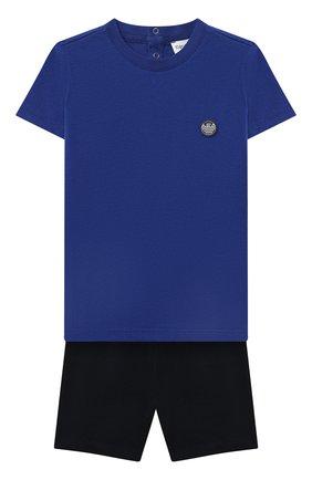 Детский комплект из футболки и шорт EMPORIO ARMANI белого цвета, арт. 3KHV06/4J4JZ | Фото 1