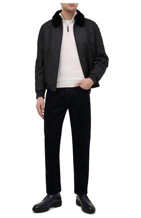 Мужской кожаный бомбер с меховой отделкой ZILLI черного цвета, арт. MAU-ILLUS-01960/0004   Фото 2 (Мужское Кросс-КТ: Кожа и замша; Материал подклада: Шелк; Кросс-КТ: Куртка; Длина (верхняя одежда): Короткие; Стили: Классический; Рукава: Длинные; Принт: Без принта)