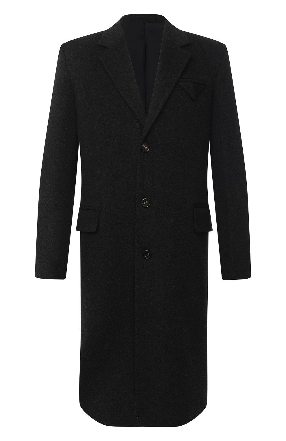 Мужской пальто из шерсти и кашемира BOTTEGA VENETA темно-серого цвета, арт. 650411/VKLU0   Фото 1 (Материал внешний: Шерсть; Рукава: Длинные; Длина (верхняя одежда): До колена; Материал подклада: Вискоза; Мужское Кросс-КТ: пальто-верхняя одежда; Стили: Минимализм)