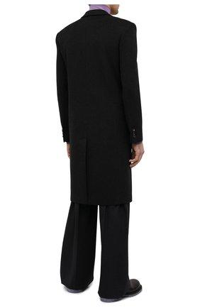 Мужской пальто из шерсти и кашемира BOTTEGA VENETA темно-серого цвета, арт. 650411/VKLU0   Фото 4 (Материал внешний: Шерсть; Рукава: Длинные; Длина (верхняя одежда): До колена; Материал подклада: Вискоза; Мужское Кросс-КТ: пальто-верхняя одежда; Стили: Минимализм)