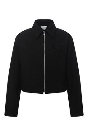 Мужская шерстяная куртка BOTTEGA VENETA черного цвета, арт. 646907/V0AW0 | Фото 1 (Кросс-КТ: Куртка; Материал внешний: Шерсть; Материал подклада: Вискоза; Мужское Кросс-КТ: шерсть и кашемир; Стили: Минимализм; Длина (верхняя одежда): Короткие; Рукава: Длинные)
