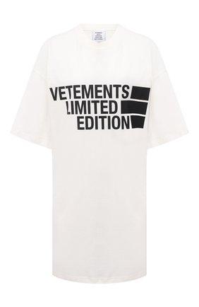 Женская хлопковая футболка VETEMENTS белого цвета, арт. UE51TR810W 1611/W   Фото 1