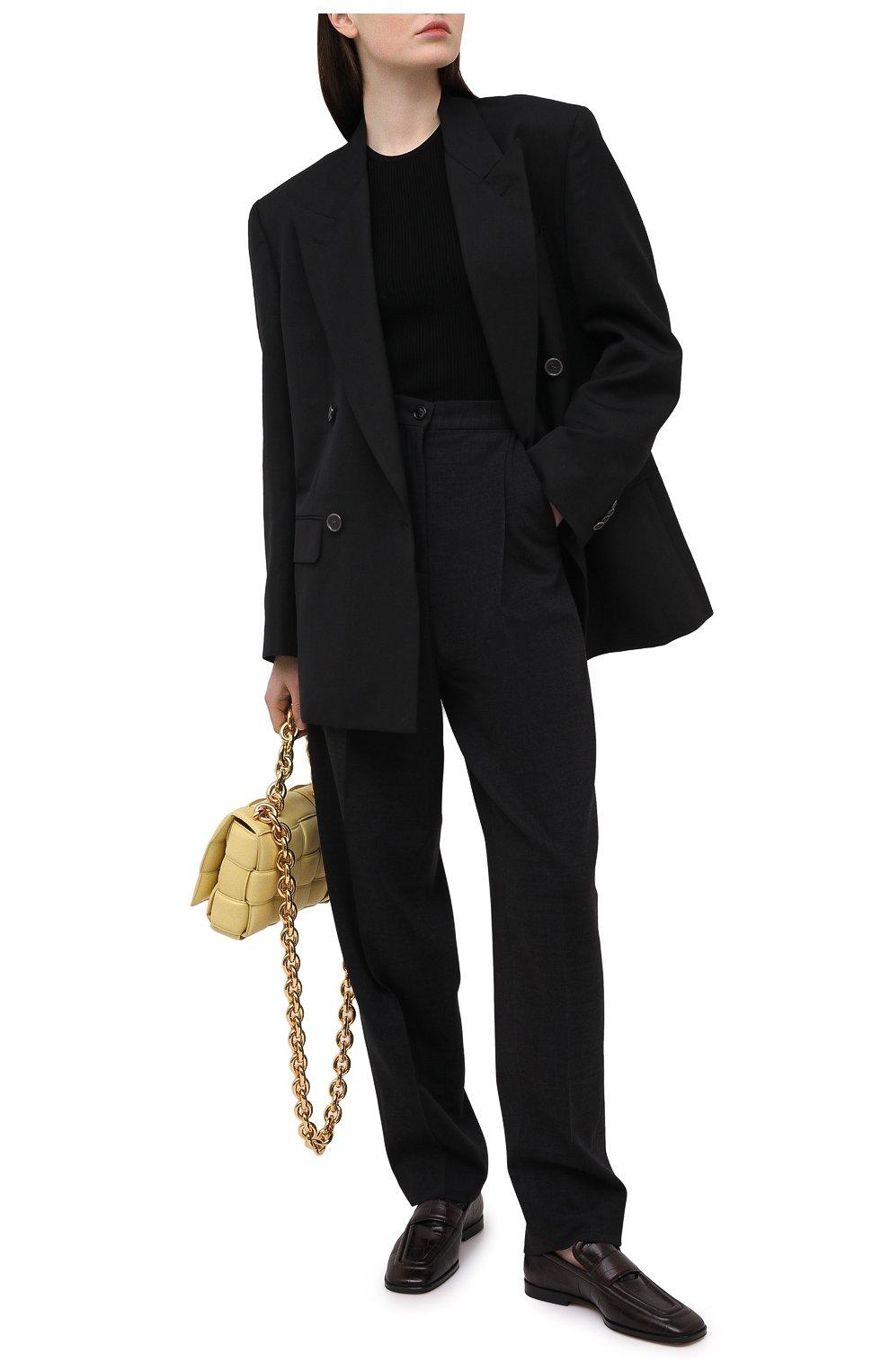 Женские кожаные лоферы BOTTEGA VENETA темно-коричневого цвета, арт. 651365/V0G80   Фото 2