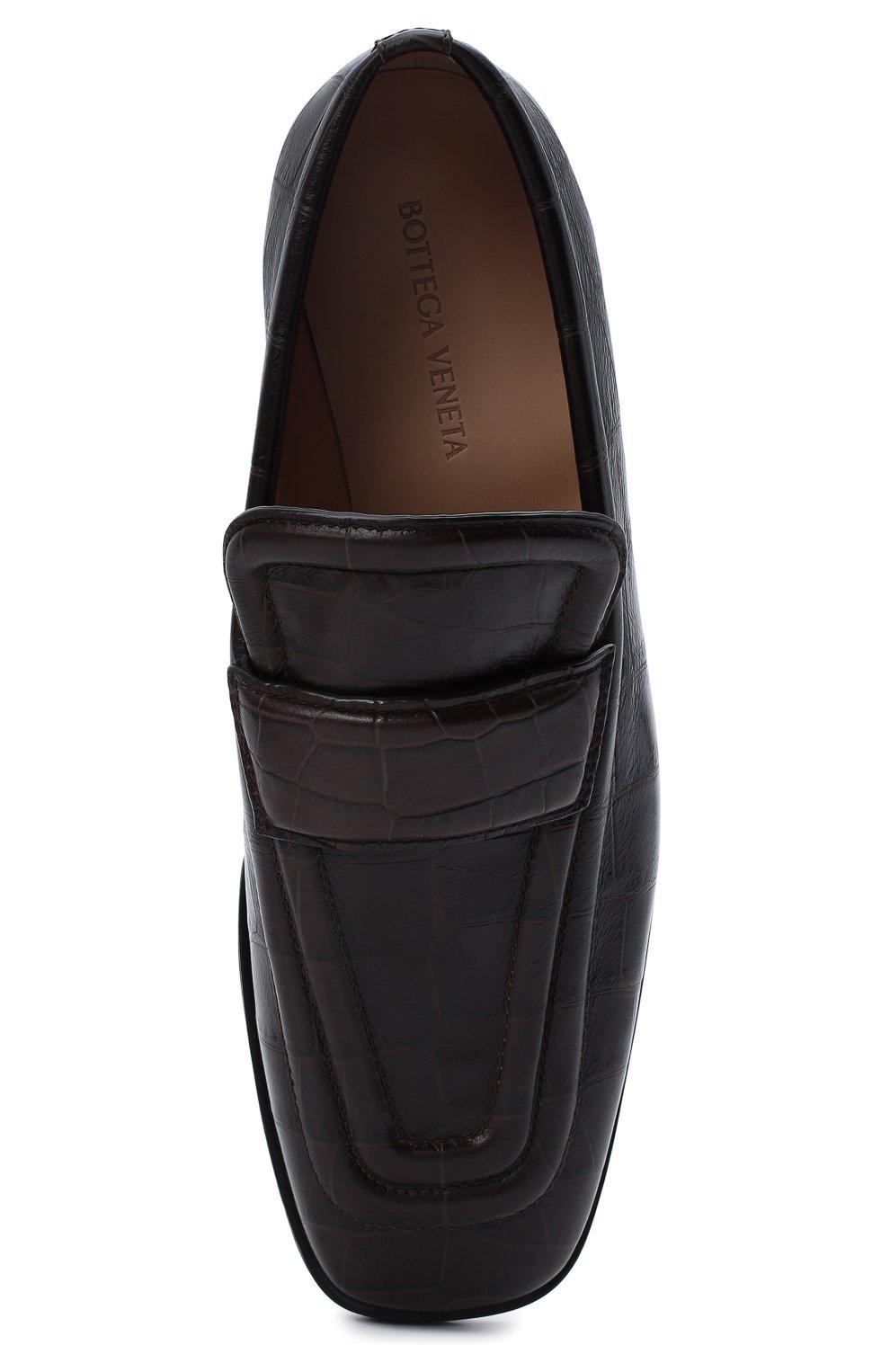 Женские кожаные лоферы BOTTEGA VENETA темно-коричневого цвета, арт. 651365/V0G80   Фото 5