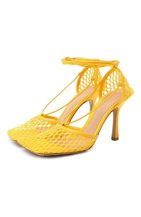 Женские текстильные босоножки stretch BOTTEGA VENETA желтого цвета, арт. 651388/VBSD3 | Фото 1