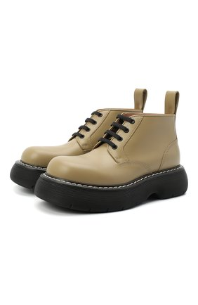 Женские кожаные ботинки bounce BOTTEGA VENETA хаки цвета, арт. 651406/V00H0 | Фото 1