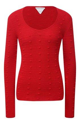 Женский хлопковый пуловер BOTTEGA VENETA красного цвета, арт. 647743/V0DW0 | Фото 1