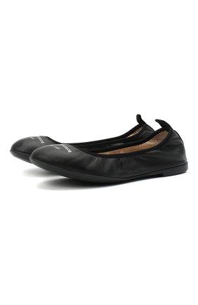Детские кожаные балетки EMPORIO ARMANI черного цвета, арт. XXD010/XCC69/28-34 | Фото 1 (Материал внутренний: Натуральная кожа)