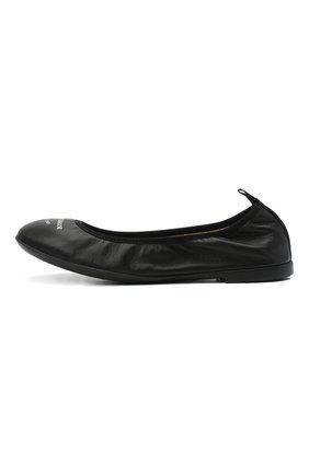 Детские кожаные балетки EMPORIO ARMANI черного цвета, арт. XXD010/XCC69/35-40 | Фото 2 (Материал внутренний: Натуральная кожа)