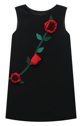 Детское платье DOLCE & GABBANA черного цвета, арт. L59D79/G7XUM/2-6 | Фото 1 (Материал подклада: Вискоза; Материал внешний: Вискоза; Рукава: Короткие; Случай: Вечерний; Девочки Кросс-КТ: Платье-одежда; Ростовка одежда: 2 года | 92 см, 3 года | 98 см, 4 года | 104 см, 5 лет | 110 см, 6 лет | 116 см)
