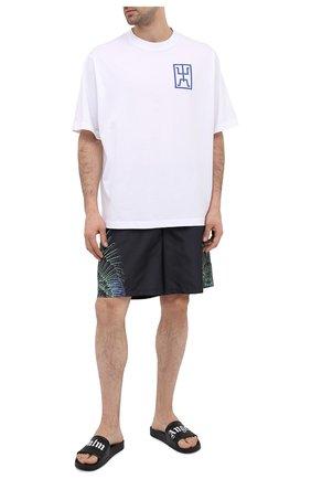 Мужские шорты MARCELO BURLON черного цвета, арт. CMFA007R21FAB001 | Фото 2