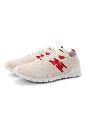 Мужские текстильные кроссовки KITON кремвого цвета, арт. USSKD0TN00822 | Фото 1 (Материал внешний: Текстиль; Подошва: Массивная; Стили: Спорт; Материал внутренний: Натуральная кожа)