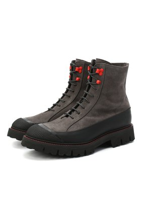 Мужские замшевые ботинки KITON темно-серого цвета, арт. USSHIKEN00689 | Фото 1 (Материал внутренний: Текстиль, Натуральная кожа; Мужское Кросс-КТ: Ботинки-обувь; Подошва: Массивная; Материал внешний: Замша)