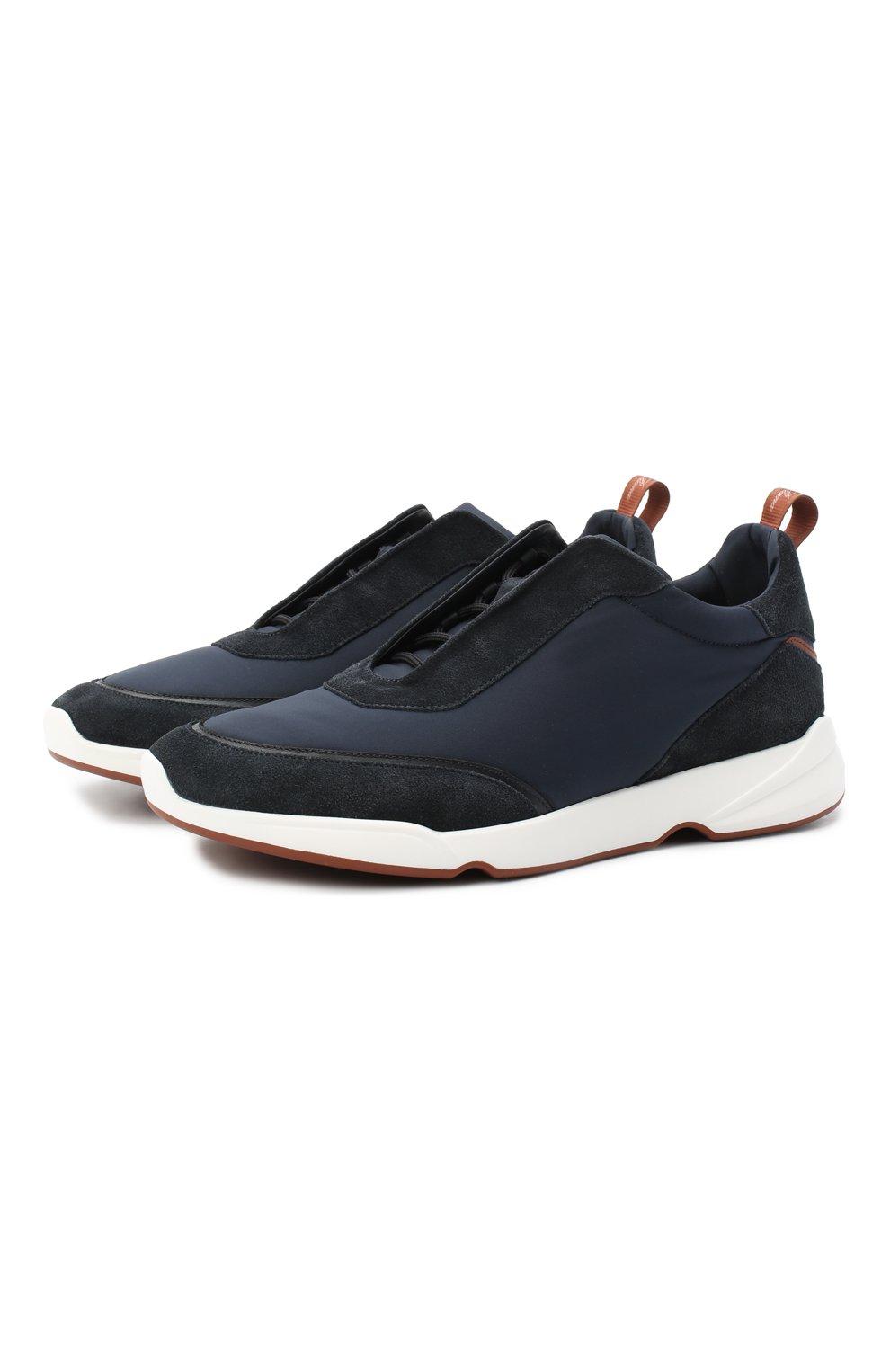 Мужские комбинированные кроссовки modular walk LORO PIANA темно-синего цвета, арт. FAL6187 | Фото 1