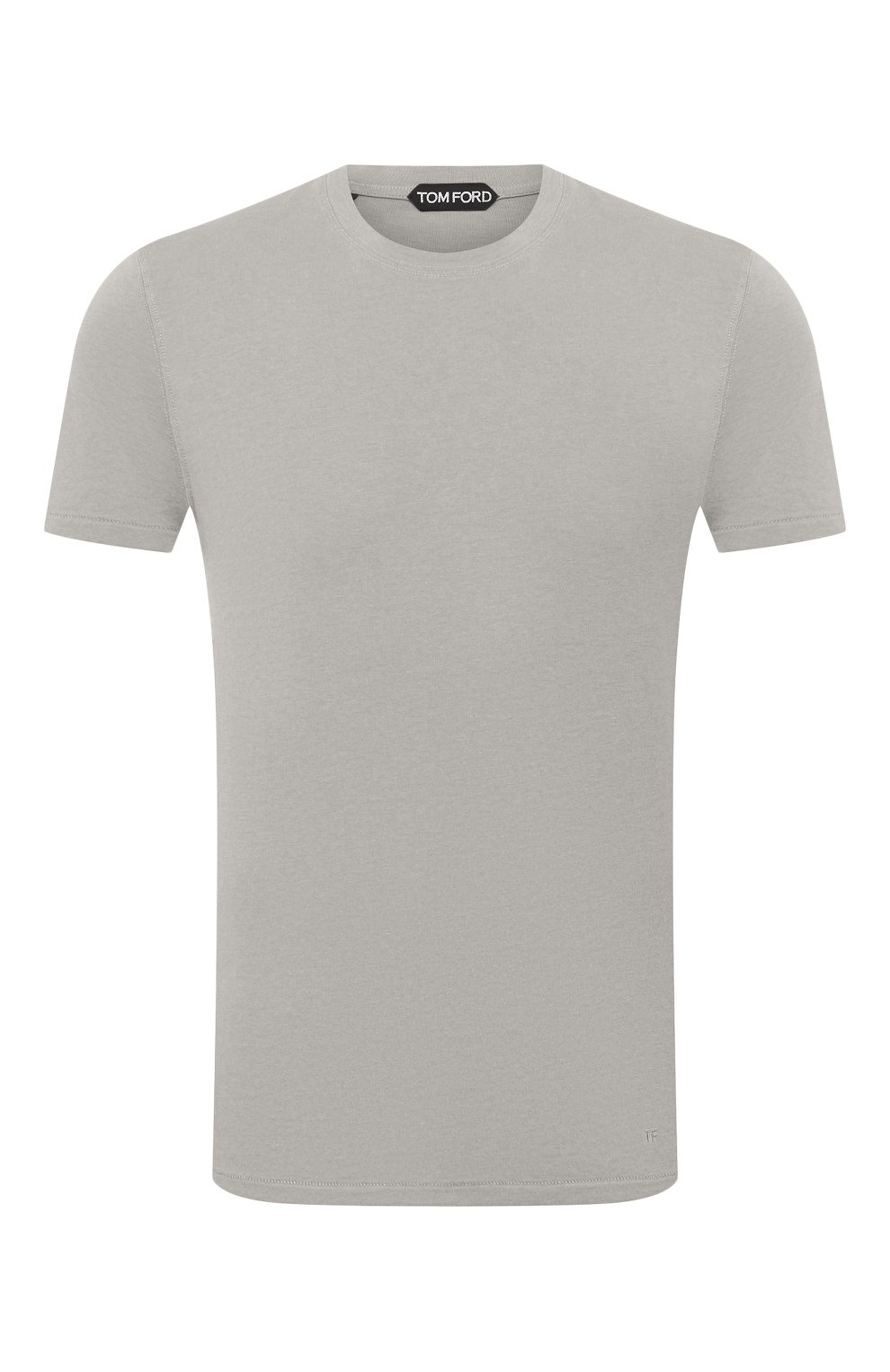Мужская футболка TOM FORD светло-серого цвета, арт. BW229/TFJ950 | Фото 1 (Принт: Без принта; Рукава: Короткие; Длина (для топов): Стандартные; Материал внешний: Хлопок, Лиоцелл; Стили: Кэжуэл)