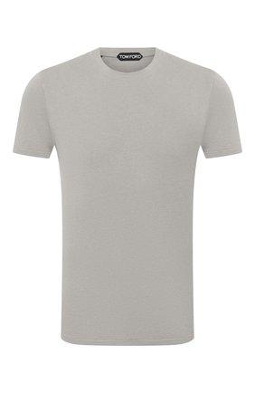 Мужская футболка TOM FORD светло-серого цвета, арт. BW229/TFJ950 | Фото 1 (Принт: Без принта; Длина (для топов): Стандартные; Материал внешний: Лиоцелл, Хлопок; Стили: Кэжуэл; Рукава: Короткие)