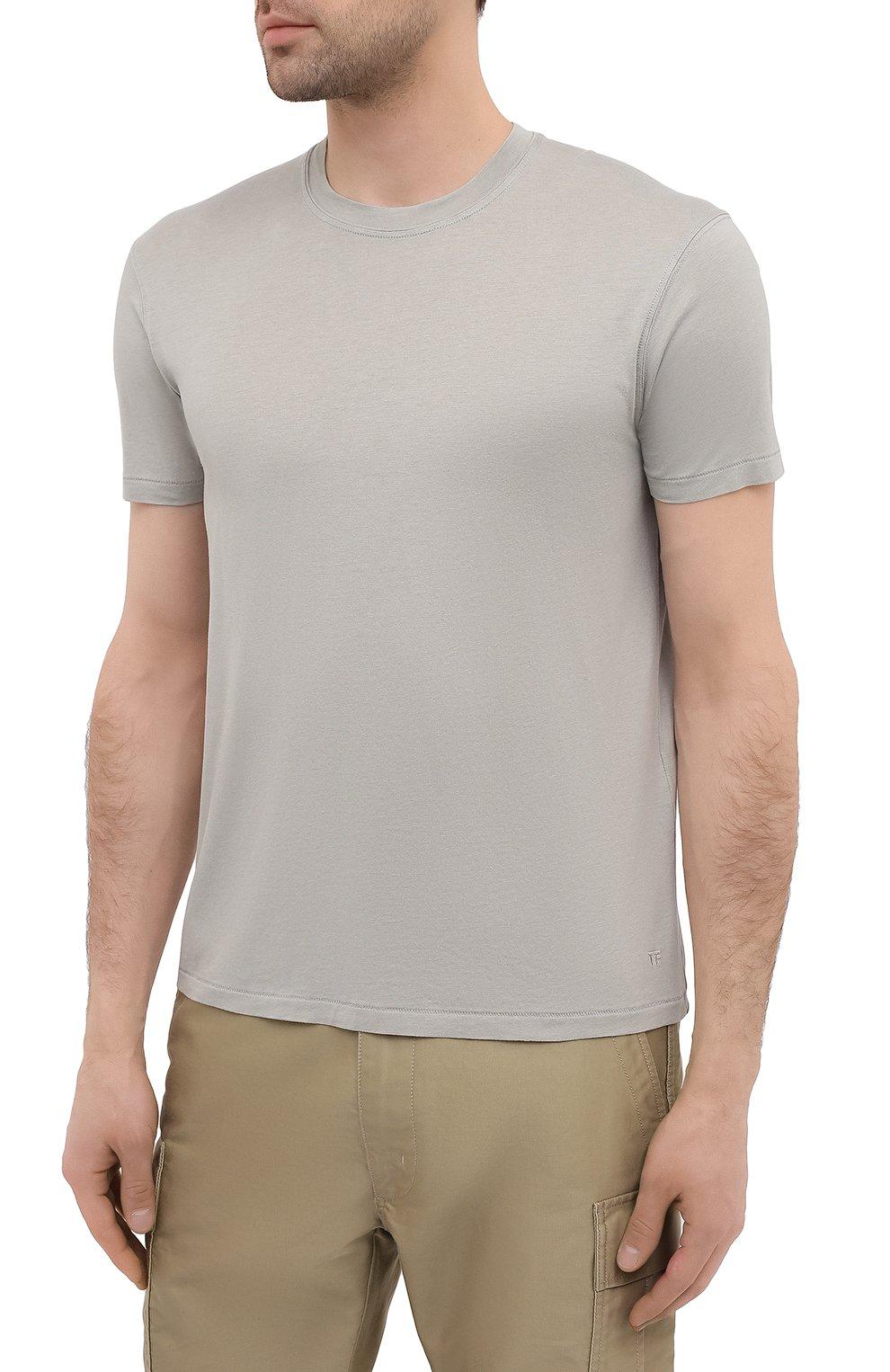 Мужская футболка TOM FORD светло-серого цвета, арт. BW229/TFJ950 | Фото 3 (Принт: Без принта; Рукава: Короткие; Длина (для топов): Стандартные; Материал внешний: Хлопок, Лиоцелл; Стили: Кэжуэл)
