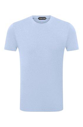 Мужская футболка TOM FORD голубого цвета, арт. BW229/TFJ950 | Фото 1 (Длина (для топов): Стандартные; Принт: Без принта; Материал внешний: Хлопок, Лиоцелл; Рукава: Короткие; Стили: Кэжуэл)