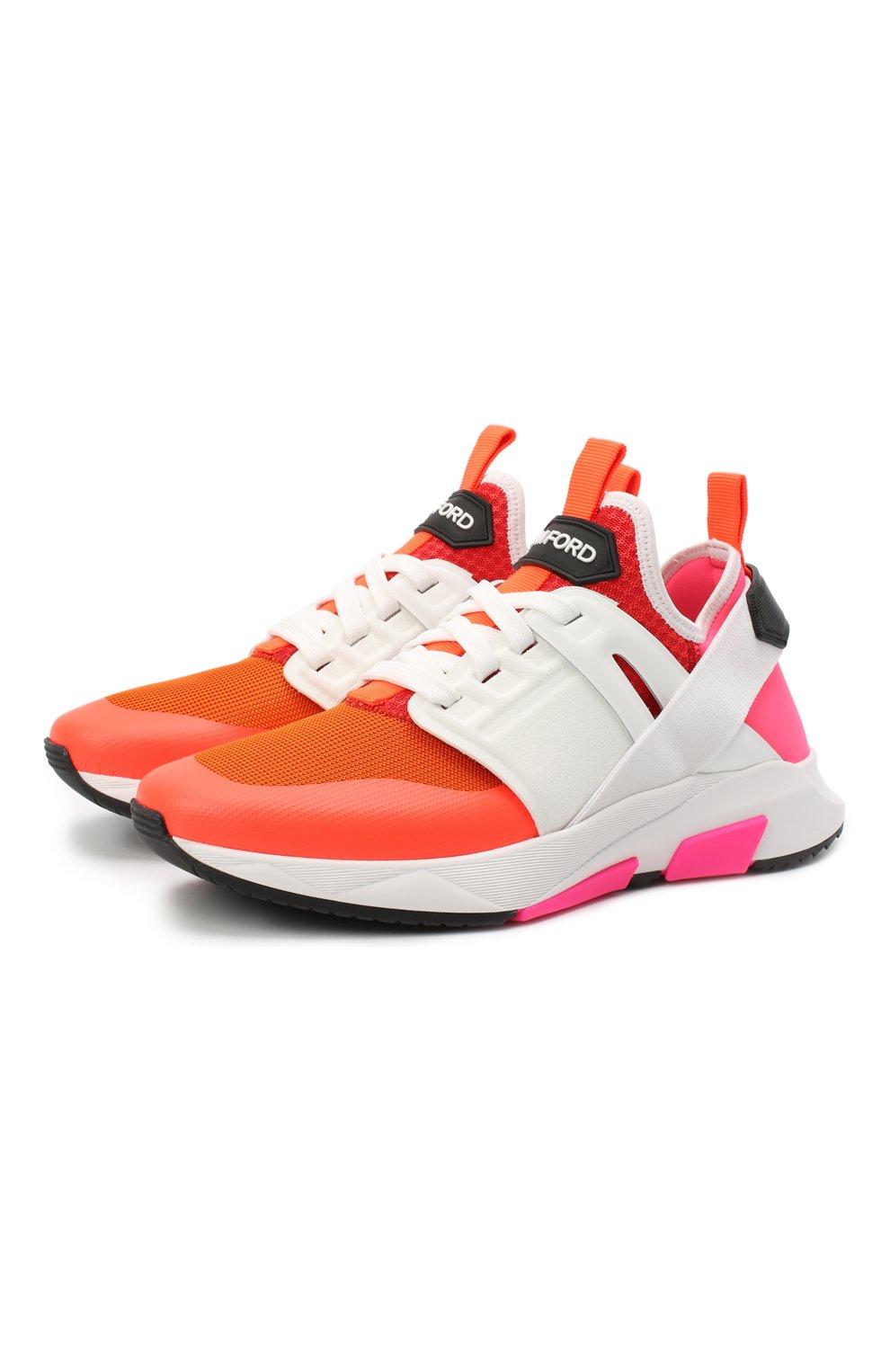 Мужские комбинированные кроссовки TOM FORD оранжевого цвета, арт. J1100T-T0F001 | Фото 1