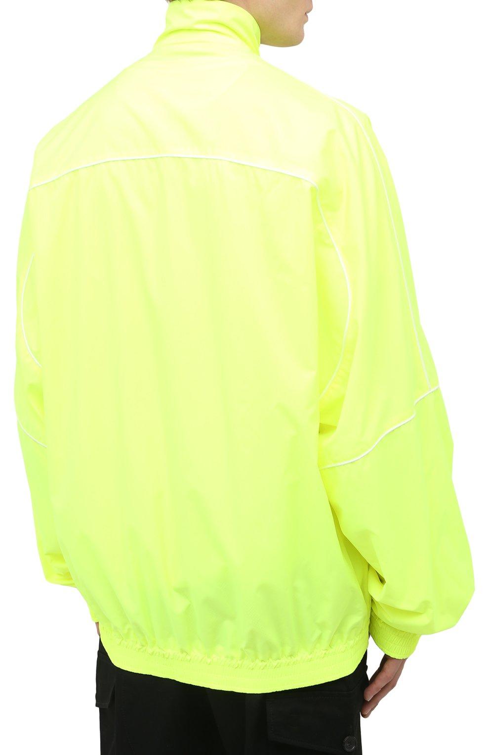 Мужской бомбер BALENCIAGA светло-зеленого цвета, арт. 642337/TJ0C1 | Фото 4 (Кросс-КТ: Куртка; Рукава: Длинные; Принт: Без принта; Длина (верхняя одежда): До середины бедра; Материал внешний: Синтетический материал; Стили: Гранж; Материал подклада: Синтетический материал)