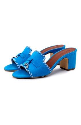 Женские замшевые мюли jovis charms LORO PIANA синего цвета, арт. FAL5955 | Фото 1