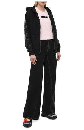 Женский хлопковая толстовка OFF-WHITE черного цвета, арт. 0WBE005R21JER001 | Фото 2 (Стили: Спорт-шик; Рукава: Длинные; Длина (для топов): Стандартные; Материал внешний: Хлопок; Женское Кросс-КТ: Кардиган-одежда)