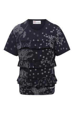 Женская хлопковая футболка REDVALENTINO синего цвета, арт. VR3MG09P/5QC   Фото 1 (Стили: Романтичный; Принт: С принтом; Длина (для топов): Стандартные; Материал внешний: Хлопок; Рукава: Короткие; Женское Кросс-КТ: Футболка-одежда)