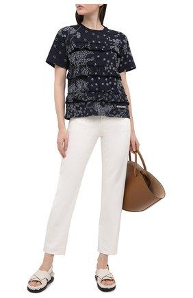Женская хлопковая футболка REDVALENTINO синего цвета, арт. VR3MG09P/5QC   Фото 2 (Стили: Романтичный; Принт: С принтом; Длина (для топов): Стандартные; Материал внешний: Хлопок; Рукава: Короткие; Женское Кросс-КТ: Футболка-одежда)