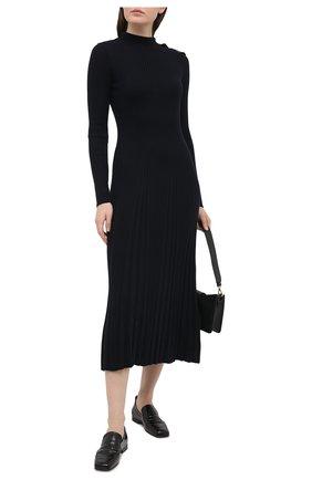 Женское шерстяное платье REDVALENTINO темно-синего цвета, арт. VR3KD01U/5P6   Фото 2 (Женское Кросс-КТ: платье-футляр; Стили: Романтичный; Рукава: Длинные; Длина Ж (юбки, платья, шорты): Миди; Кросс-КТ: Трикотаж; Материал внешний: Шерсть; Случай: Повседневный)