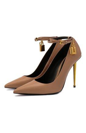 Женские кожаные туфли padlock TOM FORD бежевого цвета, арт. W2271T-LKD002 | Фото 1 (Материал внутренний: Натуральная кожа; Каблук высота: Высокий; Каблук тип: Шпилька; Подошва: Плоская)