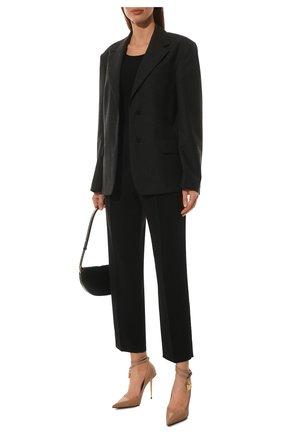 Женские кожаные туфли padlock TOM FORD бежевого цвета, арт. W2271T-LKD002 | Фото 2 (Материал внутренний: Натуральная кожа; Каблук высота: Высокий; Каблук тип: Шпилька; Подошва: Плоская)