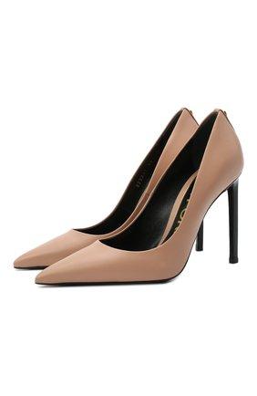 Женские кожаные туфли t-screw TOM FORD бежевого цвета, арт. W2325T-LCL002 | Фото 1