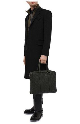 Мужская кожаная сумка для ноутбука BOTTEGA VENETA хаки цвета, арт. 650372/V0E51 | Фото 2