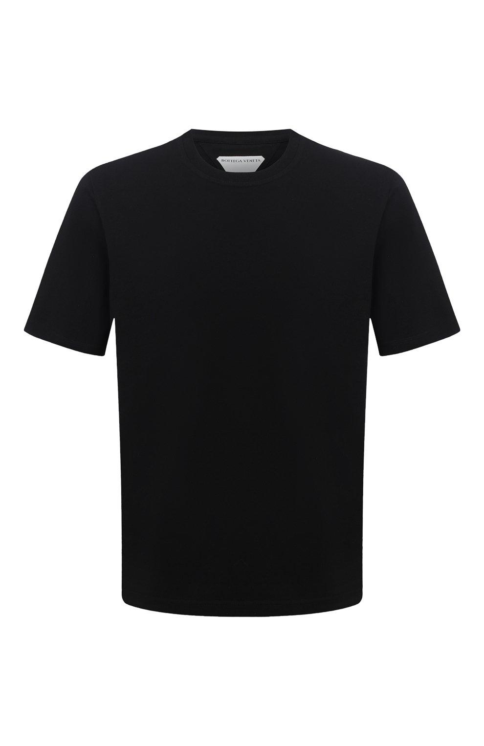 Мужская хлопковая футболка BOTTEGA VENETA черного цвета, арт. 649055/VF1U0 | Фото 1 (Принт: Без принта; Рукава: Короткие; Длина (для топов): Стандартные; Материал внешний: Хлопок; Стили: Минимализм)