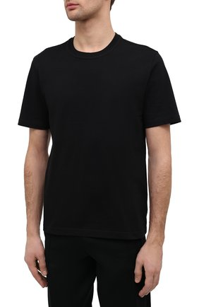 Мужская хлопковая футболка BOTTEGA VENETA черного цвета, арт. 649055/VF1U0 | Фото 3 (Принт: Без принта; Рукава: Короткие; Длина (для топов): Стандартные; Материал внешний: Хлопок; Стили: Минимализм)