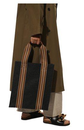 Женский сумка-шопер suitcase stripe LORO PIANA темно-серого цвета, арт. FAL4563 | Фото 2 (Размер: large; Сумки-технические: Сумки-шопперы; Материал: Текстиль)