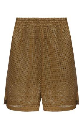 Женские кожаные шорты BOTTEGA VENETA хаки цвета, арт. 652786/V0IT0 | Фото 1